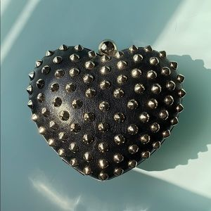 Forever21 black heart-shaped silver studded clutch